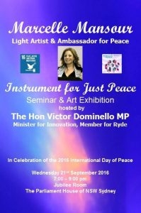 Marcelle Mansour Poster celebrating International Day of Peace 21st Sep 2016