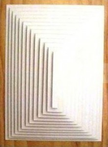 Marcelle Mansour © 2013, light in SystematicInside out, Twin-Piece-Artwork. Matboard on Timber. Piece 2. Painting