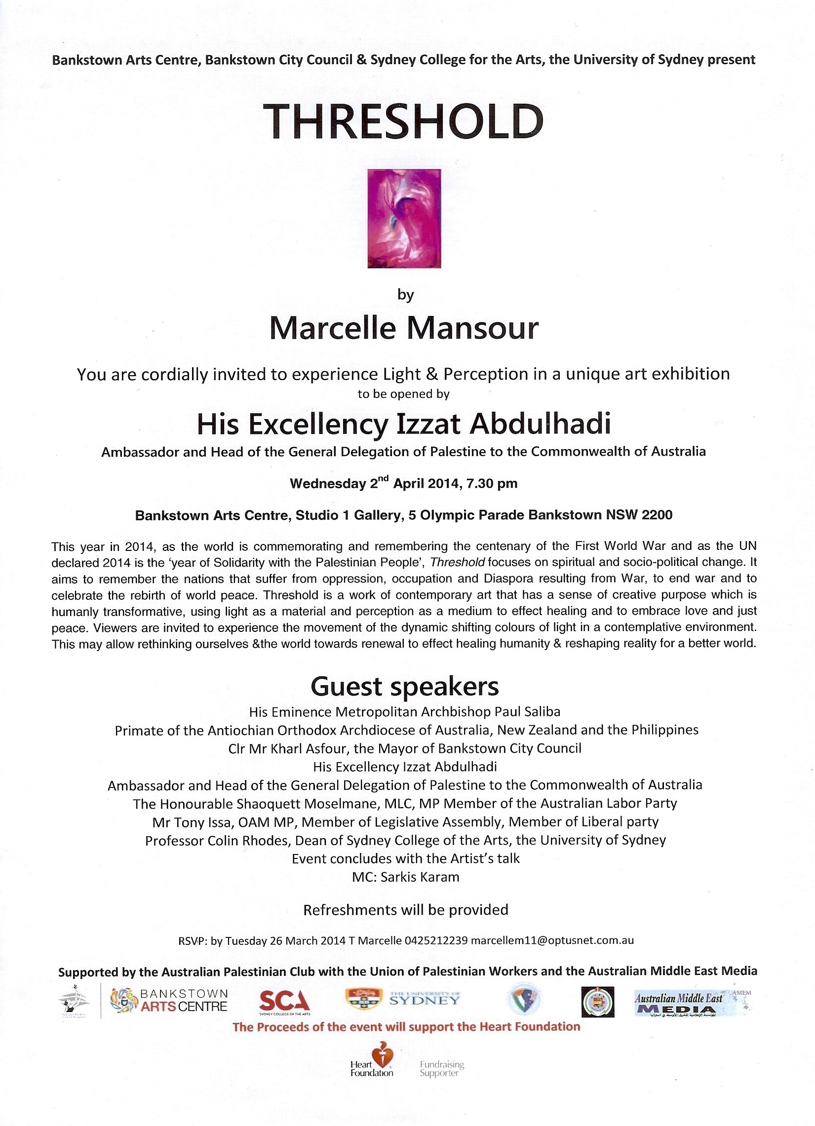 News marcelle mansour invitation to attend threshold solo art exhibition at bankstown arts centre april 2014 stopboris Images
