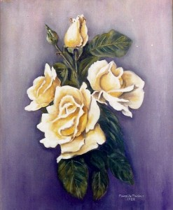 Marcelle Mansour © 1988. Yellow Roses, Oil on Canvas. Painting