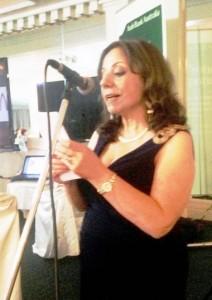 """Marcelle Mansour reading her poem """"مارسيل منصور تقرأ قصيدة """"تحية"""
