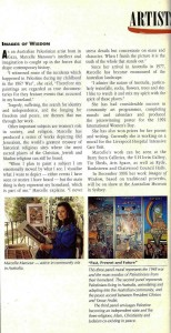 Marcelle Mansour's Images of Wisdom intervewed by the Australian Artist Magazine in Artists in Action Issue No 107 Page 10, Sep 1996