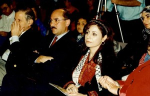Marcelle Mansour at the Images of Wisdom Art Exhibition , Australian Museum with the former Palestinian Ambassador Ali Kazak and the late Jim Samios MP in 1997