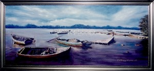 Marcelle Mansour © 1986. Sydney Boats, Oil on Canvas. Painting