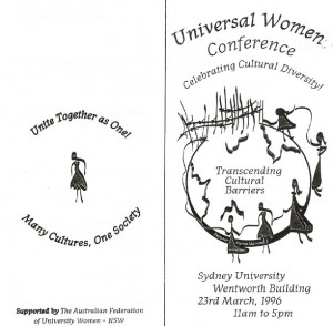 Universal Women Conference Celebrating Cultural Diversity 23rd Mar 1996