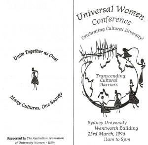 Universal Women Conference Celebrating Cultural Diversity 23rd Mar 1996