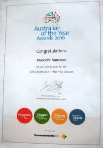 15 September 2015, Congratualtions to Marcelle Mansour on her Nomination for the 2016 Australian of the Year Award, Australia's Local Hero