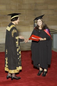 Marcelle Mansour awarded Master of Studio Arts (MSA) 2011, University of Sydney, delivered by Her Excellency Prof Marie Bashir AC CVO, Uni Chancellor& former Governo