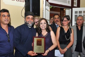 Marcelle Mansour awarded Sts Michael & Gabriel Orthodox Church Shield for her Solo Exhibition, Threshold at Mary MacKillop Museum in December 2014