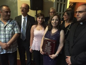 "Marcelle Mansour was awarded ""Sawaki for Culture and Arts"" Shield, for her continuous work culminated by Threshold Solo Exhibition & Poetry, at Mary MacKillop Museum 10 Dec 2014"