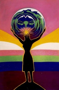 Marcelle Mansour's Art work of Women's Strength won 2nd Prize, Sydney International Women's Day Collective Poster Design Competition, 1993