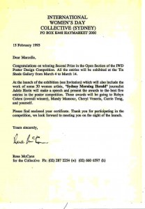 Marcelle Mansour's Congratulations letter on winning 2nd Prize, Sydney International Women's Day Collective Poster Design Competition, 1993