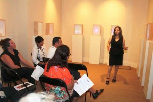 Marcelle Mansour's first Artist's talk at Mary McKillop Musum on Threshold Art Exhibition