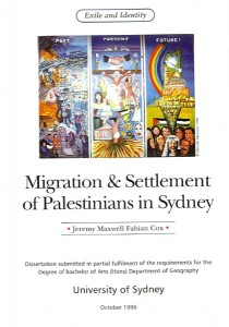 Migration and Settlement of Palestinians in Sydney by Geremy Cox. Book Cover by Marcelle Mansour © Oct 1996