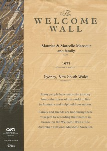 Marcelle Mansour and her family names are recorded on the Welcome Wall at the Australian Maritime Museum