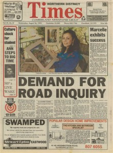 Marcelle Mansour's Solo Art Exhibition , Artspace Chatswood, 1992, Front Page of Northern District Times, local Newspaper