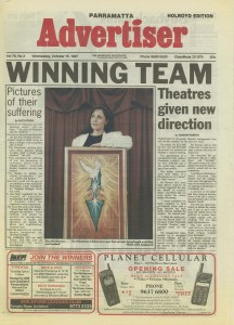 Marcelle Mansour's Solo Art Exhibition at National Refugee Week, Oct 1997, Austcare, at the Front page of the Advertiser ,Parammatta Local Neswpaper