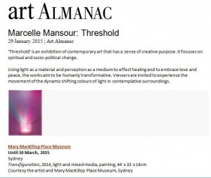 "Marcelle Mansour's ""Threshold"" Art Exhibition at Mary MacKillop Museum North Sydney 11 Dec 2014 - 30 March 2015. Art Almanac"