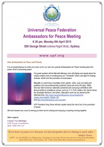 Universal Peace Federation Ambassadors For Peace, The Power of Art in Promoting Peace. Art Exhibition and Seminar, Guest Speaker Marcelle Mansour