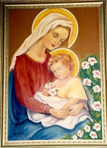 Marelle Mansour © 1981, Virgin Mary and Infant Christ. Oil on Timber. Painting with hand made frame made of raw timber